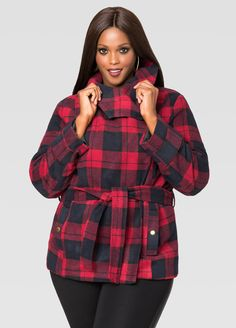 a191d8ccca6 Belted Plaid Coat Belted Plaid Coat Fashionable Plus Size Clothing