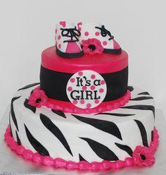 Hot Pink Black Baby Shower Cake ~ NutMeg Confections