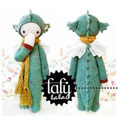 """PATRÓN de crochet en PDF """"dragón DIRK"""" de lalylala - handmade por DaWanda.com"""