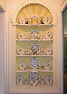 Built-ins in dinning room- and that's my china down the middle in pink!