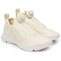 Reebok Pump Supreme Sneakers (555 RON) ❤ liked on Polyvore featuring shoes, sneakers, beige, slip-on sneakers, slip on trainers, beige shoes, slip on sneakers and reebok sneakers