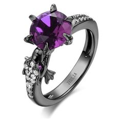Modern Dragon Amethyst Rhodium Plated Designer Sterling Silver... ($140) ❤ liked on Polyvore featuring jewelry, rings, amethyst jewelry, rhodium plated sterling silver ring, amethyst jewellery, sterling silver rings and amethyst engagement ring