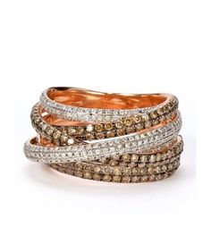 Sunny Stack Ring        Brown & White Diamonds set in 18k Pink Gold