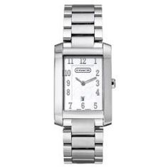 @Overstock - This Coach watch features a logotized dial with sliver tone markers and date at the 6 o'clock position. The stainless steel brushed and polished with matching polished case provide subtle elegance to this women's watch.http://www.overstock.com/Jewelry-Watches/Coach-Womens-Movado-Collection-Silver-Dial-Stainless-Steel-Watch/6623195/product.html?CID=214117 $239.00