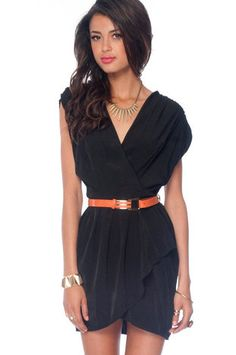 New Colors on the Block Belted Dress in Black $33 at www.tobi.com