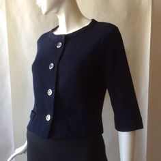 1950's / early 1960's Kimberly boutique fine wool jacket, navy blue with large round buttons, cropped with 3/4 sleeves, medium / size 8 - 10 by afterglowvintage on Etsy