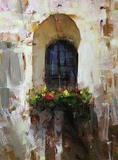 Backyard Window by Tibor Nagy Oil ~ 16 x 12