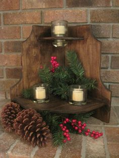 Rustic Wood Candle Holder Shelf Stand Vintage Glass Insulator Reclaimed Primitive Country Log cabin style