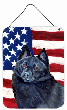 USA American Flag with Schipperke Aluminium Metal Wall or Door Hanging Prints