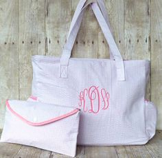 Personalized Diaper Bag Pink Seersucker