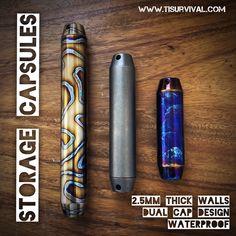 Waterproof titanium capsules built like a tank. Work great as survival kit containers, pill fobs, or cigar holders. Cigar Tube, Paracord Projects, Survival Kit, Wall Design, Edc, Container, Storage, Purse Storage, Store
