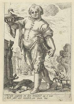Hendrick Goltzius | Vuur, Hendrick Goltzius, 1590 - 1600 | Een kok met een eend op een schaal bij een kookplaats. Onder de voorstelling twee versregels in het Nederlands. Deze prent is onderdeel van een serie prenten van de vier elementen.