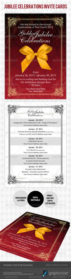 """Golden Jubilee Invitation Card - Ideal for all your """"grand"""" events."""