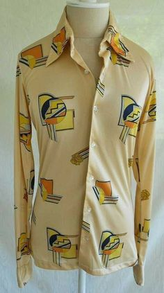 Vintage Philip Meredith Shirt Disco Cubist Print S Long Point Collar MEN Couture Shoes, Couture Outfits, 70s Shirts, Casual Shirts, Vintage Love, Vintage 70s, Disco Shirt, Vintage Couture, Point Collar