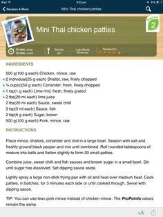 Weight watchers mini Thai chicken patties