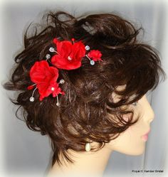 Red Rose Hair Comb Duo Bridal Hair Accessory by RoyalEXander, $19.43