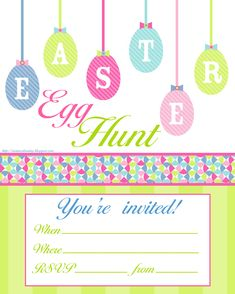 Easter Egg Hunt free printable invitation - print however many you need and personalise them with details of your own party (fill in the blanks)