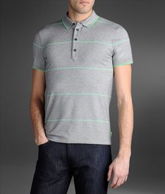 Polo Shirt In Melange With Fluorescent Stripe Detail  Price: $180,00