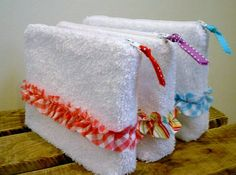 Terrycloth shower supply bags