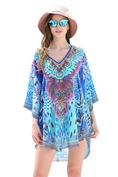 f65d94038ad Mypassa Women Plus Size V Neckline Sun Protection Floral Printing Cover up  Caftan Dress Swimwear