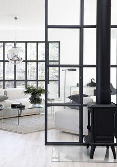 Industrial windows in house from BLOOC #habitatsverige