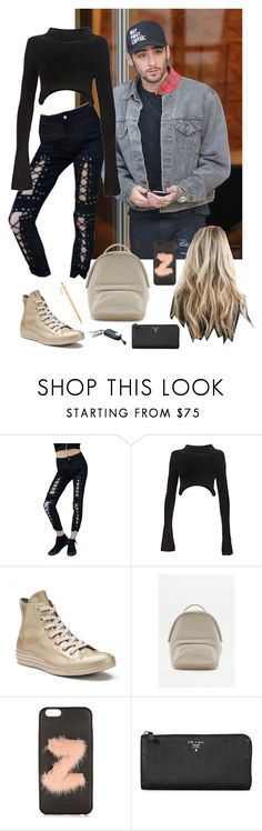 """""""A- out and about in New York with your bf Zayn"""" by princess99beatriz ❤ liked on Polyvore featuring Ray Ray, Alexander Wang, Converse, Matt & Nat, Fendi and Prada"""