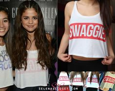 Selena Gomez posed for pictures with fans at the Meet  Greet in Lethbridge, Canada for her Stars Dance World Tour wearing this Fresh Tops Swaggie (With a I E) Crop Top. For right now its not available but check back at 8:30pm when the site re-opens.  Check it HERE