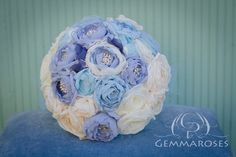 Blue and Ivory  Bouquet - Bridal Fabric Bouquet - Bridal Brooch Bouquet, Wedding Bouquet, Fabric Flower Bouquet, Handmade Bridal Bouquet,