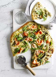 Pizza bianca with smoked salmon and spring onions - We have taken inspiration for this delicious pizza bianca (without tomato) from The Priory Inn in the Cotswolds.