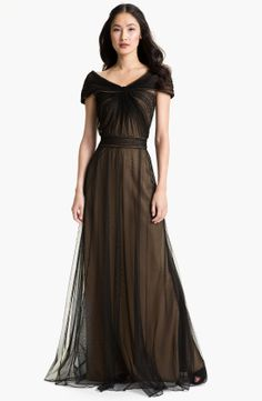 Tadashi Shoji women's black tiered chiffon sequined lace trimmed dress | Doyeb