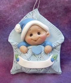 Baby's first Christmas Ornament Personalized Baby Gift Polymer Clay Baby Shower Gift Baby First Christmas Ornament, Polymer Clay Christmas, Personalized Christmas Ornaments, Babies First Christmas, Polymer Clay Ornaments, Polymer Clay Figures, Polymer Clay Creations, Clay Projects, Clay Crafts