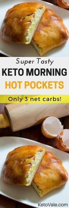 """Keto Morning Hot Pockets Check these super tasty Keto Morning Hot Pockets! This low carb breakfast recipe has only 3 net carbs. Try it today and you will love it! Hot """"Unwich"""" Ham and CheeKeto Taco Bake Recipe LowThe best Keto Pancakes Comida Diy, Comida Keto, Hot Pockets, Desserts Keto, Keto Snacks, Keto Foods, Low Carb Recipes, Diet Recipes, Cooking Recipes"""