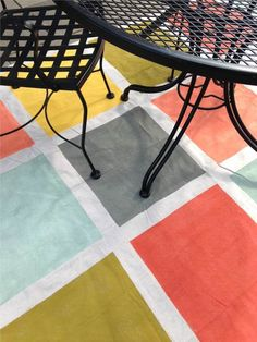 This weekend's DIY: A rug made from a canvas drop cloth, painters tape and seven different colors of paint (all in those little tester sizes from Home Depot) from our Canyon Sunrise palette. Painted Floor Cloths, Painted Rug, Painted Furniture, Hand Painted, Drop Cloth Rug, Canvas Drop Cloths, Diy Carpet, Rugs On Carpet, Carpet Ideas