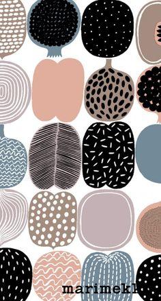 マリメッコ/フルーツ iPhone壁紙 Wallpaper Backgrounds and Plus Marimekko iPhone Wallpaper Marimekko Wallpaper, Marimekko Fabric, Pattern Wallpaper, Textile Patterns, Textile Design, Fabric Design, Print Patterns, Textiles, Surface Pattern Design