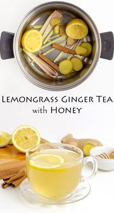 Chá de gengibre fácil com erva-cidreira com canela e mel sem glúten - Essen - Yummy Drinks, Healthy Drinks, Healthy Snacks, Healthy Recipes, Lemongrass Recipes, Lemongrass Tea, Tea Recipes, Cooking Recipes, Tea Blends