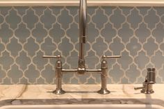 Kitchen: tile backsplash by annabelle I MUST HAVE THIS FAUCET!! LUV IT! luv the tile also!