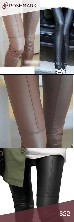 Faux Leather Leggings Faux Leather Legging  Love these Slim fit Legging  Material: Cotton/silk/polyester/ spandex  Has elastic waist for stretch  Ankle length  Stitching going down thigh Perfect for fall I'm a medium and they fit me perfect   ✨ One Size Fits Most ✨ Will fit Small to Medium Bewitched Boutique Pants Leggings