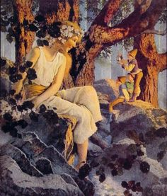 orchideyes:  -Girl with Elves,Maxfield Parrish.