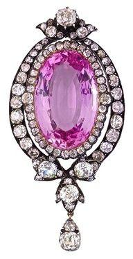 19th Century Victorian Pink Topaz And Diamond Pendant