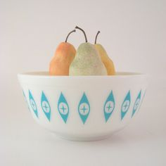 Vintage Pyrex Bowl, Eyes, Turquoise Blue, 403 2 1/2 Qt., Mid-century Atomic Kitchenware, 1950s 1960s. $34.00, via Etsy.