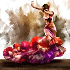 Michelangelo Paintings, Dance Paintings, Oil Paintings, Flamenco Dancers, Watercolor Paintings For Beginners, Female Dancers, Figure Painting, Dress Picture, Dance Photography