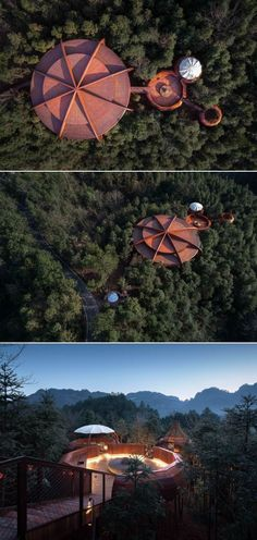 Atelier Design Continuum has designed UFO-inspired ZYJ treehouse nestled in Qiyun Mountain, China, which invokes feeling of science fiction. Resort Villa, Pine Forest, Another World, Tree Branches, Ufo, Mother Nature, Science Fiction, Mountain, Treehouses