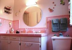 Retro pink tiles w/ pale pink walls and cabinets Pink Bathroom Tiles, Pink Tiles, Vintage Bathrooms, Small Bathroom, Pink Bathrooms, 1930s Bathroom, Bathroom Ideas, Mid Century Bathroom, Vintage Tile