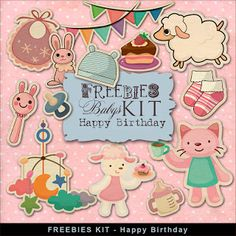 """Far Far Hill - Free database of digital illustrations and papers: New Freebies Kit - """"Happy Birthday"""""""