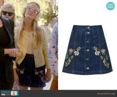 Chanel 3's floral embroidered denim skirt on Scream Queens.  Outfit Details: https://wornontv.net/60607/ #ScreamQueens