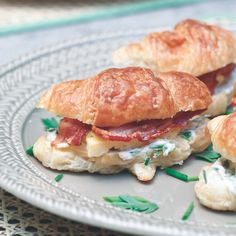 Mini Croissant Breakfast Sandwiches with Parmesan-Herb Spread