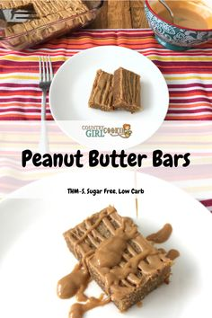Peanut Butter Bars (S) - Country Girl Cookin Homemade Peanut Butter, Peanut Butter Bars, Peanut Butter Recipes, Desserts Menu, Sugar Free Desserts, Sugar Free Recipes, Low Carb Sweets, Low Carb Desserts, Healthy Desserts