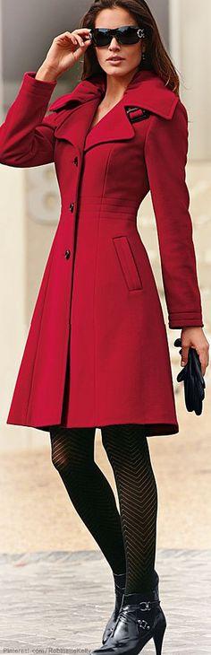 Venus   Red Tailored A-Line Coat