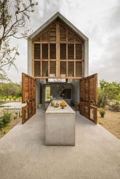 Casa Tiny Airbnb Oaxaca Mexico Indoor-Outdoor Concrete Table, Architect Aranza de Ariño, Camila Cossio Photo