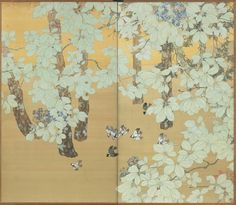 probably…NAGATA Shunsui(永田 春水 Japanese, 1872-1944) pair of Taisho period, two-fold paper screens painted in ink and color on a buff and sprinkled gold ground, with sparrows flying through a forest of white cedar, lacquer and chestnut trees.